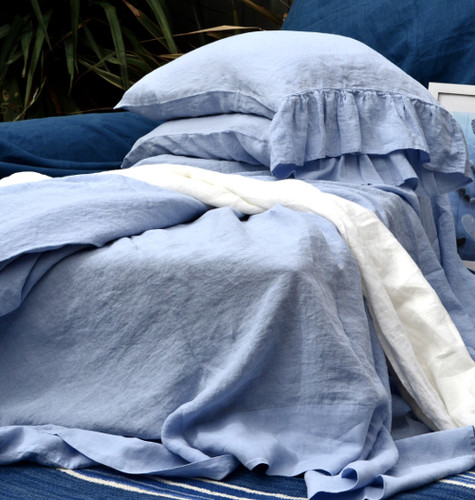 Luxurious stonewashed linen fitted sheet, Sky blue, Queen size