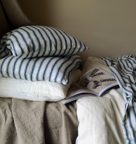 Antique French Ticking Stonewashed Linen Pillowcases (set of 2)