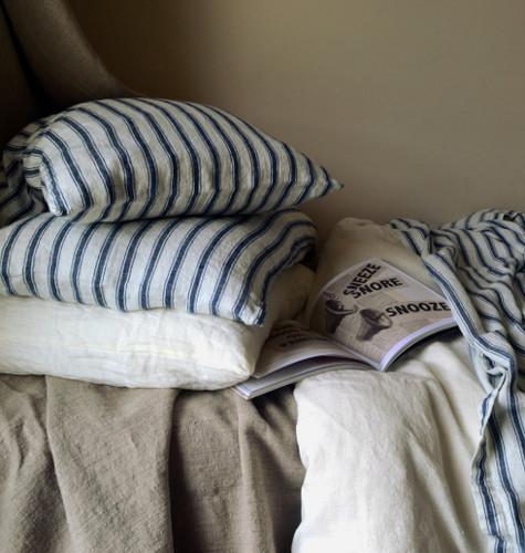 Antique French Ticking Stonewashed Linen Pillowcase