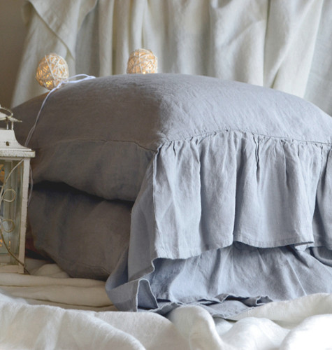 Set of 2 Light Grey pure stonewashed linen pillow cases