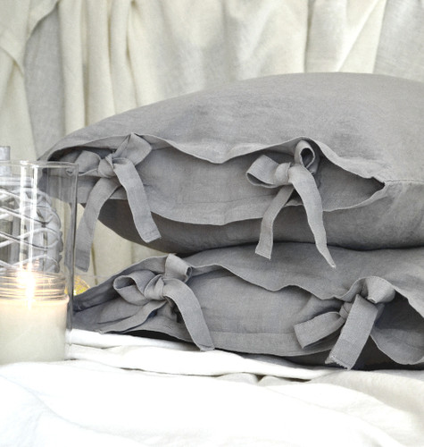 Set of 2 stonewashed light grey linen pillow cases with ties