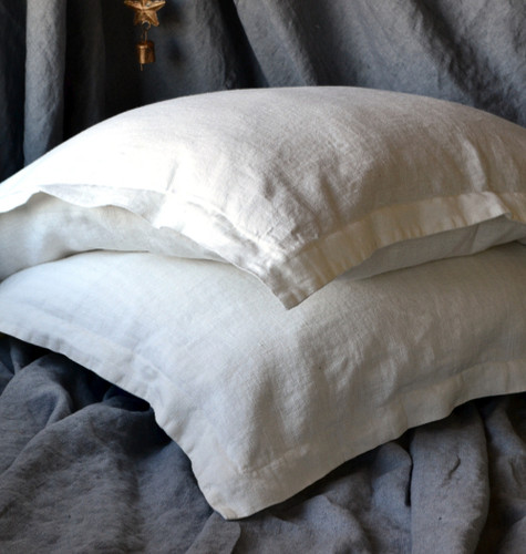 Natural Rustic Rough White Linen Pillowcases, set of 2