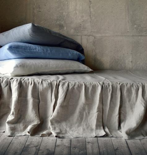 Ruffled Bedskirt, Natural stonewashed linen