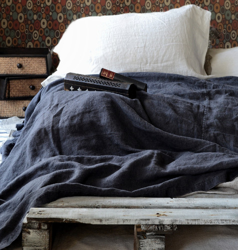 Charcoal Rough Stonewashed Linen Bed cover/Coverlet