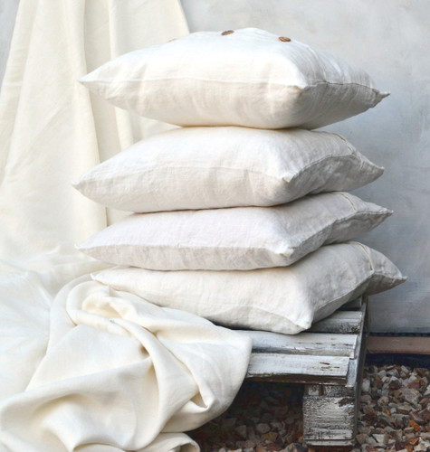 Antique white stonewashed natural linen cushion covers
