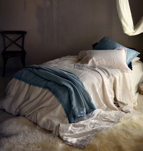 Cream white laced linen bedding