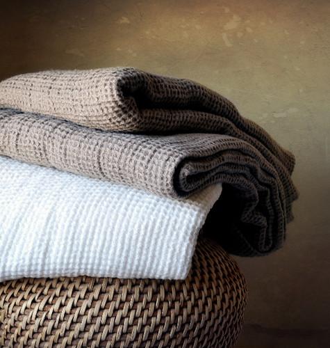 Waffle linen bath towel, Natural flax colour