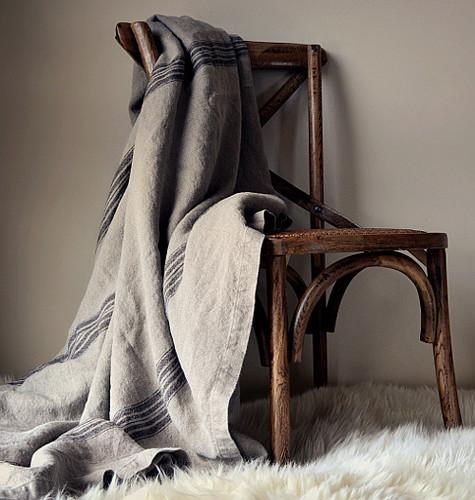 Vintage Grainsack Heavy Linen Coverlet⎮Bed cover, Black stripe