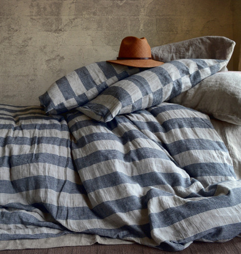 Country Cottage, Striped linen duvet bedding set in Queen size