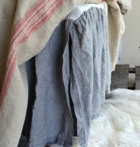 Heavy weight Dove Grey Linen Ruffled Valance⎮Bedskirt⎮Dust Ruffle