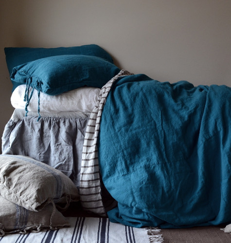 Dark Teal stonewashed linen quilt cover. Heavy weight rustic linen