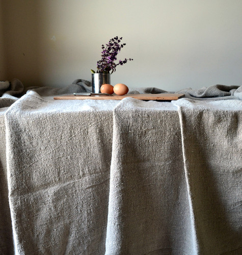 Rustic Dining, Rough softened natural linen tablecloth, Natural