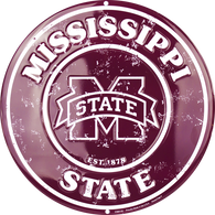 Mississippi State Embossed Metal Circular Sign