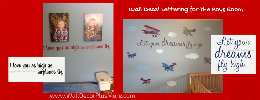 Wall Decals Lettering for Boys Room Airplanes