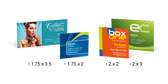 """Mini Business Cards come in a nifty 2"""" x 2"""" and also a 3.5"""" x 1.5"""" size. They don't have a great big area to say many things, But they sure grab everyone's attention because of their size."""