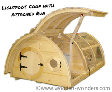 Bring the Lightfoot Hobbit Hole Chicken Coop with Attached Run home to roost!  On the attached run version, nest boxes are located directly inside the front door (the chicken door is in the back), and clean out access is through the hinged roof!