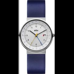 Braun - Men's BN-142WHBLG GMT Analog, white dial, blue leather band