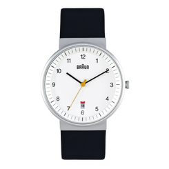 Braun - Men's BN-32WHBKG White dial, black leather band, date, 40 mm