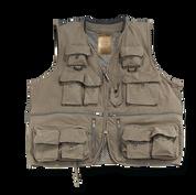 "Adult Deluxe ""Quik Dri"" Olive Fishing Vest W/ Mesh Back, Neoprene Collar"