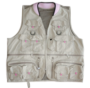 Lady's Deluxe Polycotton Khaki/Pink Trim, Mesh Back Fishing Vest, Neoprene Collar