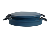 Set of 2 - 2 qt and 4 qt cook pots with lids.  Shown collapsed in Marlin blue with silicone lid visible.