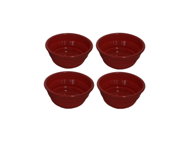 Set of 4 Serving Bowls.  Shown in Sunset Red.