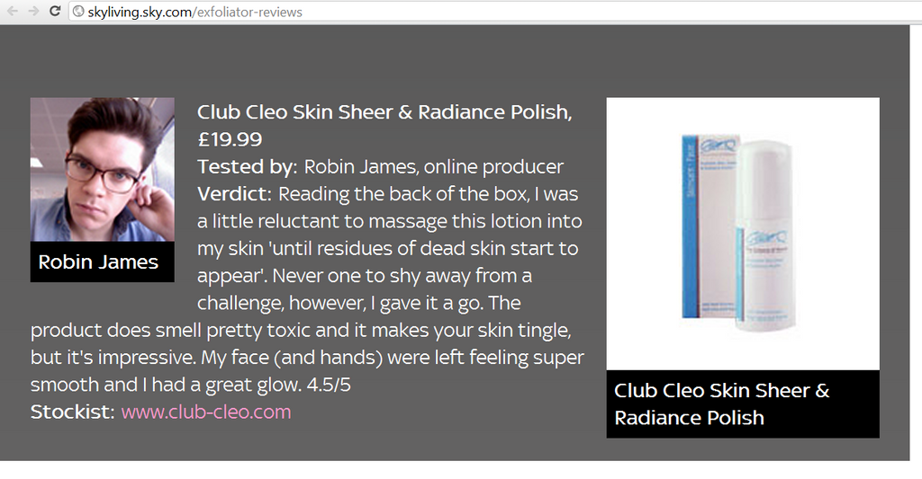 cleo skin sheer radiance polish media review