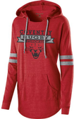 Coventry Ladies-Cut Hooded Pullover, Scarlet/Gray