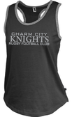 Charm City Knight Ladies-Cut Racerback Tank, Heathered Black