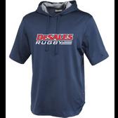 DeSales Rugby Short Sleeve Hoodie, Navy