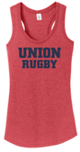 Union Rugby Ladies-Cut Racerback Tank, Red Frost