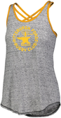 Forge Criss Cross-Strap Ladies Tank, Gray/Gold
