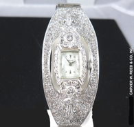 2 1/2 Carat Custom Vintage Hamilton Diamond Cuff Bracelet Watch, in 14k White Gold