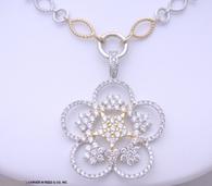 3 1/4ct Diamond Flower Drop Necklace