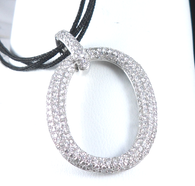 2 3/4 Carat Pave Diamond Oval Pendant, in 18k White Gold