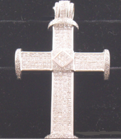 27 3/4 Carat Diamond Cross Pendant, Set in 14k White Gold
