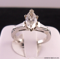 1 1/4 Carat Marquise Diamond Ring with Tapered Baguettes, in Platinum