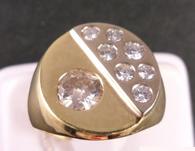 1 1/2 Carat Burnish Style Men's Ring, In 14k Yellow Gold