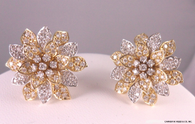 2 Carat Layered Diamond Flower Earrings, in 14k Yellow & White Gold