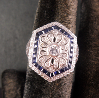 18k Antique Style Diamond & Sapphire Ring With Filigree Detail