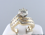 Channel Set Solitaire Diamond Wedding Set, in 14k Yellow Gold