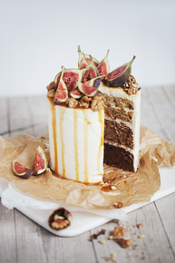 Chocolate Ombre Cake, w/ Mascarpone Goat Cheese Filling & Caramel Fig Walnut Top