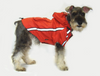 Water resistant hooded dog's raincoat with reflective trim