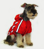 Water resistant hooded dog's raincoat with reflective trim. Velcro closure.