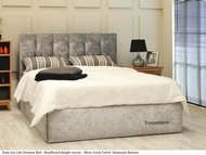 Paris gas lift ottoman bed silver crush velvet