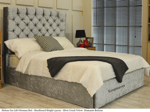 Helena gas lift ottoman bed shown in silver crush velvet fabric with diamante buttons