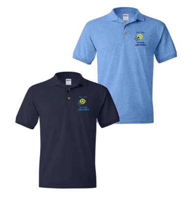 Archers Performance Polo - Navy and Carolina Blue