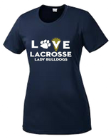 OF Ladies Love Lacrosse Dry Fit Tee - Ladies Cut - Navy