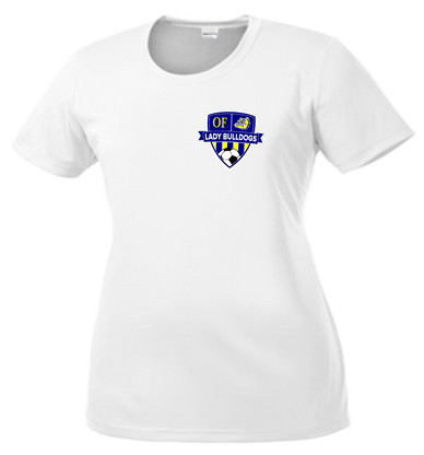 OF Lady Bulldogs Soccer DriFit Ladies Cut Tee - White