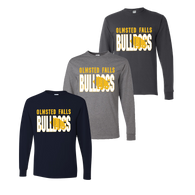Olmsted Falls Bulldogs Shadow LS Tee - Navy, Oxford, Charcoal